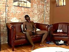 Sporty And Fit African twink works his shaft