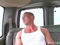 Blonde handsome guy tempted by sexy pornstar in the bus