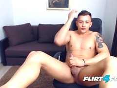 Mike Al Spreads His Tight College Ass and Jerks His Fine Uncut Cock