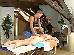 Explicit anal fucking for lad during massage