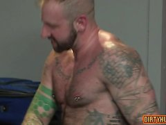 Muscle bear dildo with anal cumshot