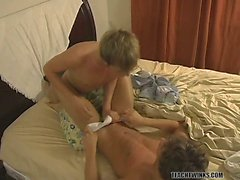Blair Mason and Dillon Samuels wrestle in bed before