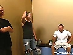 The guys arrive to paint a room.