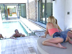 Bisexual Daughters Swap Dads In A Pool Orgy