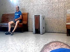 Older daddy grabs and show me his cock in rail station