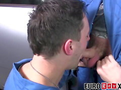 18yo mechanic sucking dick and bent over for bareback