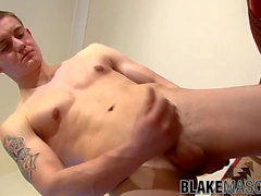 UK first-timer Callum Astor strokes his jizz-shotgun after an interview