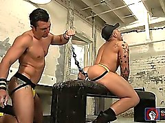Santoro struggles as Durano taunts him with a huge dildo