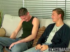 'British young men jerking each other off before blowjob'