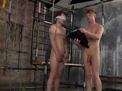 Naked and bound, hard and horny for attention, Kamyk gets