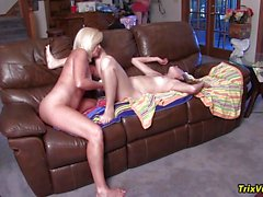 Mature blonde Ms Paris Rose fucked in foursome