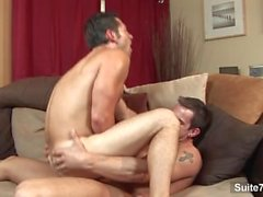Seductive gay Ari Sylvio gives blowjob and gets ass nailed by Phenix Saint