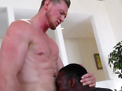 Ripped guy fucks black ass