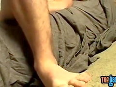 Fetish jock Hunter caressing feet and masturbation solo