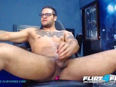 Flirt4Free - Dirian C - Hot Sexy Latino w Big Dick Rides His OhMiBod Toy