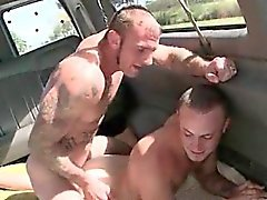 Tattooed stud hammering tight gay butt hole