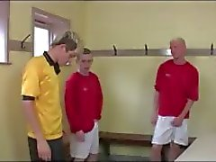 Hot group of gay twinks in football locker room group blowjob fun