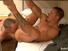 Sexual tattooed gay Drew Cutler gets anally banged and body cummed