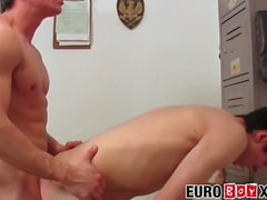 Hardcore Euro teammates Damien and Thor bareback and blowjob