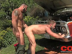 Hairy hunky bearded mechanics Spencer Reed and Dirk Caber