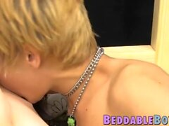 'Blonde Miles Pride rimmed and fucked hard by big dick twink'